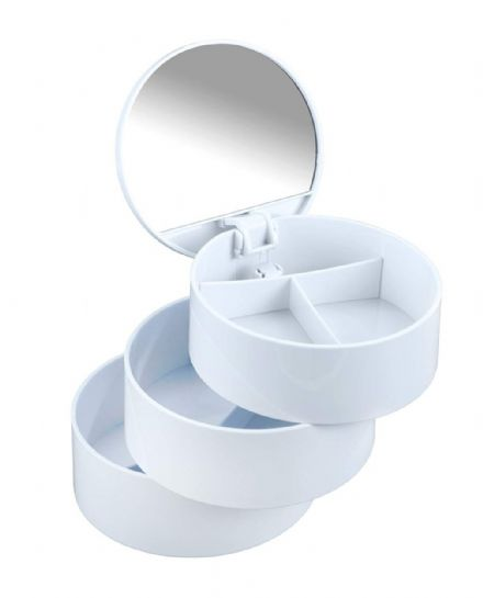 Wenko Cosmetic Tower 3 Shelves/Mirror White